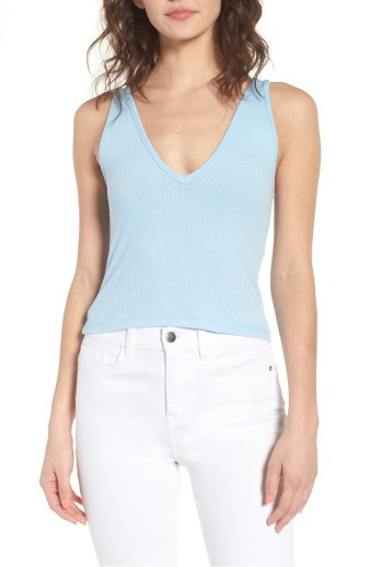 BP. Double V Rib Knit Tank in Blue Bell
