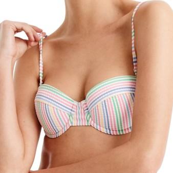 J.Crew Rainbow Seersucker Underwire Bikini Top